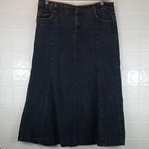 Baccini size 14 long jean skirt no slit dark wash